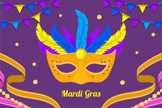 Flache karneval mit maske und federn