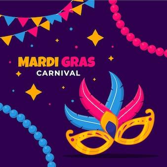 Flache karneval mit maske