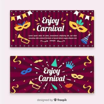 Flache karneval party banner