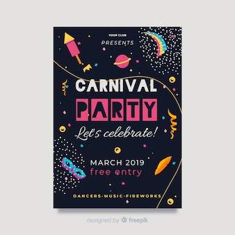 Flache karneval party poster