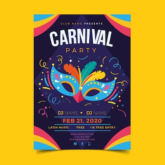 Flache karneval-plakatschablone