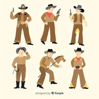 Flache karnevals-cowboy-kostüm-kollektion