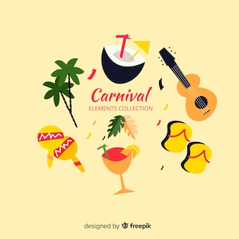 Flache karnevalselement-sammlung
