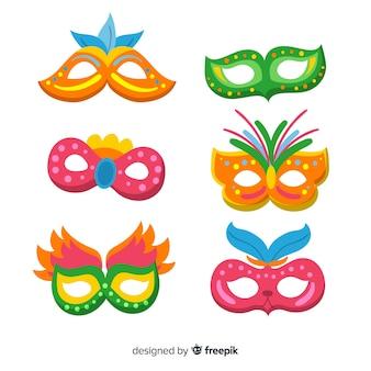 Flache Karnevalsmasken-Sammlung
