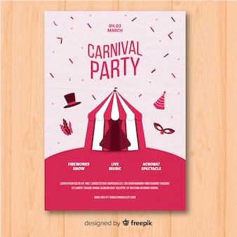Flache karnevalsparty flyer vorlage