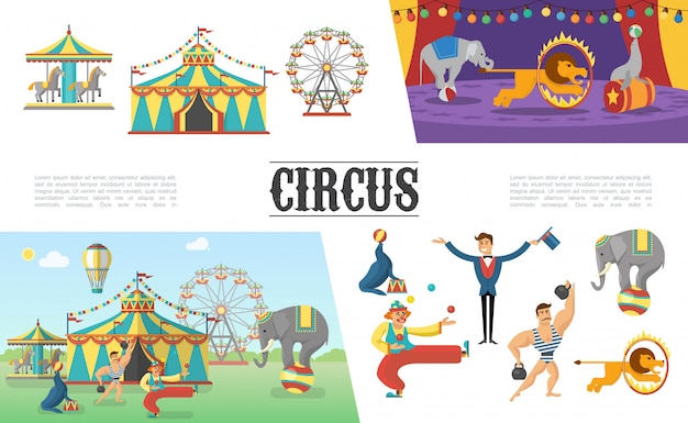 Flache karnevalszirkuselemente gesetzt mit zeltkarussells starker mannclown jonglierbälle illusionistischer elefantenlöwensiegel, das verschiedene tricks durchführt