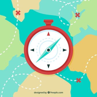 Flache karte kompass hintergrund