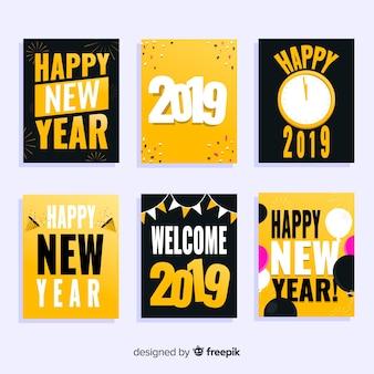 Flache karten für das neue jahr 2019