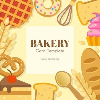 Flache kartenvorlage der bäckerei