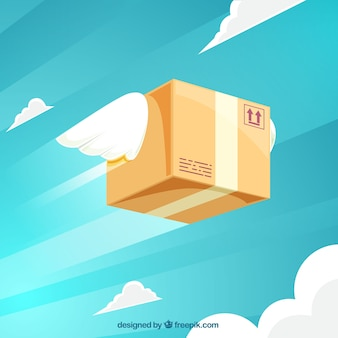 Flache Kartonbox mit Flügeln fliegen