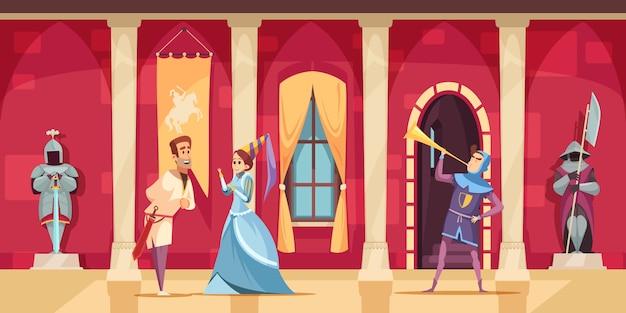 Flache kartoninnenzusammensetzung der mittelalterlichen schlosshalle stellte mit bewaffneten schutz lord lady horn blower ein