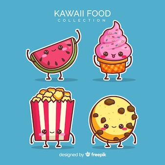 Flache kawaii lebensmittelsammlung