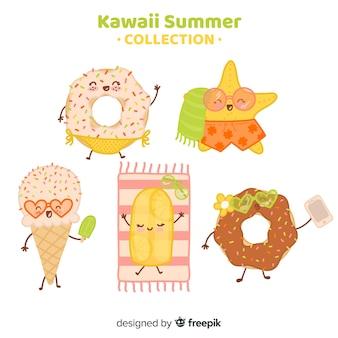 Flache kawaii sommer-nahrungsmittelsammlung