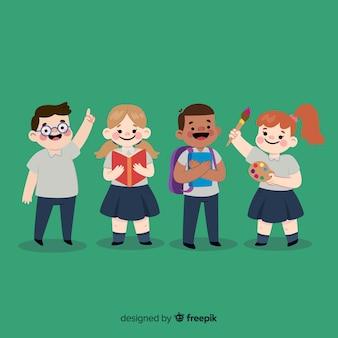 Flache kinder zurück in die schule Kostenlosen Vektoren