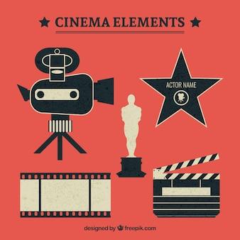 Flache kino elemente im retro-design