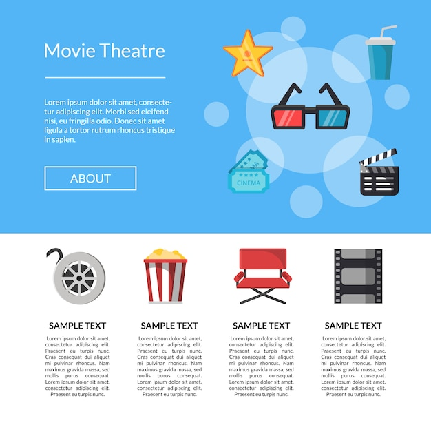 Flache kino icons landing page vorlage