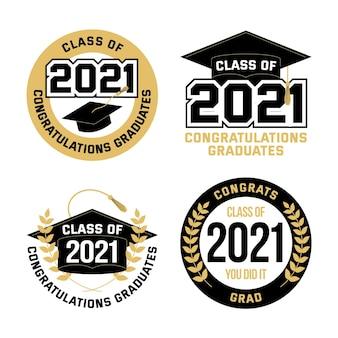 Flache klasse der etikettensammlung 2021