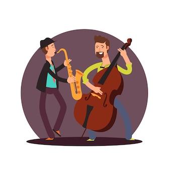 Flache klassische instrumentalduo-musikerzeichentrickfilm-figuren