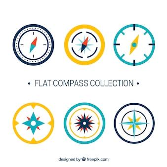 Flache kompass-sammlung