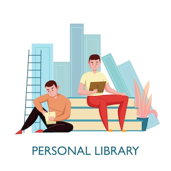 Flache komposition der persönlichen virtuellen bibliothek mit 2 jungen männern, die auf büchern sitzen, die elektronische textvektorillustration lesen