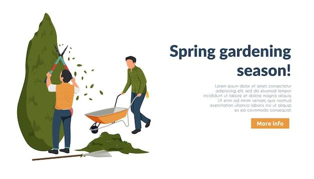 Flache komposition für den frühlingsgarten mit bearbeitbarem text für weitere informationen und charakteren von gärtnern bei der arbeit Premium Vektoren