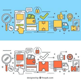 Flache komposition mit e-commerce-elementen