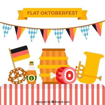 Flache komposition mit oktoberfest ergänzt