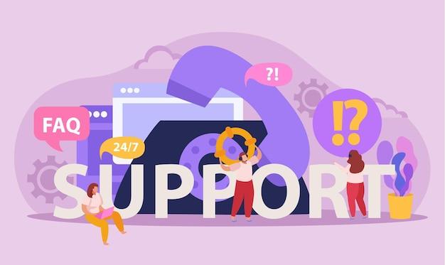 Flache komposition mit telefon und betreibern, die dem kunden online-support bieten