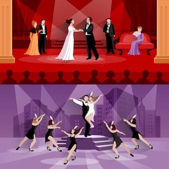 Flache kompositionen aus zwei theaterszenen