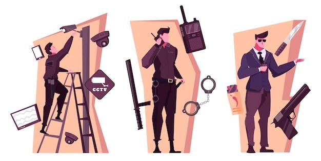 Flache kompositionen des sicherheitsdienstes mit personen, die leibwächter zu hause und im büro arbeiten