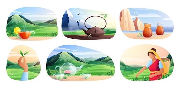 Flache kompositionen für die natürliche teeproduktion mit einer reihe von artikeln für das traditionelle chinesische teetrinken isolierte illustration
