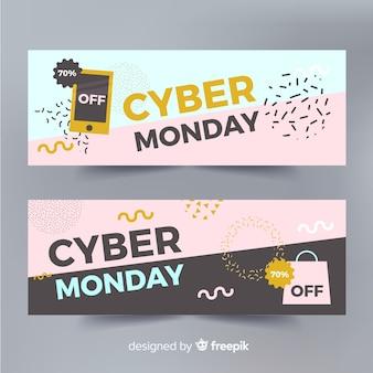 Flache konfetti-fahnenschablone des cyber-montages