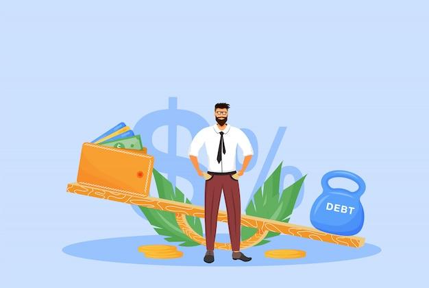 Flache konzeptdarstellung der schuldentilgung. bankrott, mann ohne geld, bankschuldner 2d-zeichentrickfigur für webdesign. wirtschaftliche belastung, kredit darlehen, finanzielle problem kreative idee