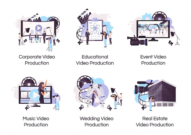 Flache konzeptikonen der videoproduktion eingestellt.