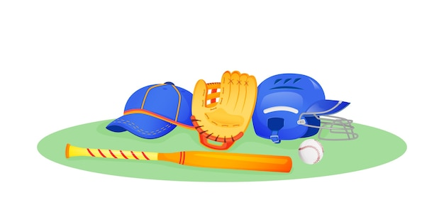 Flache konzeptillustration der baseballausrüstung