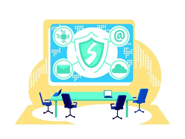 Flache konzeptillustration der cyber-kontrolle