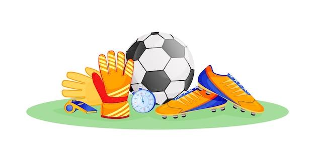 Flache konzeptillustration der fußballausrüstung