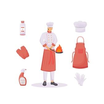 Flache konzeptillustration der küchenkleidung
