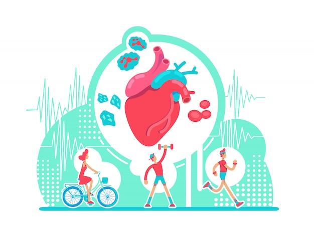Flache konzeptillustration des gesundheitssystems des herz-kreislauf-systems. aktives cardio-training. anatomisches herz. gesunde lebensweise 2d-zeichentrickfiguren