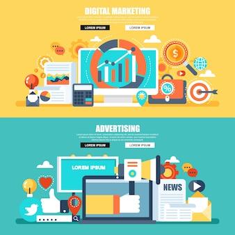 Flache konzeptnetzfahne des digitalen marketings