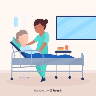 Flache krankenschwester, die auf patienten aufpasst