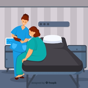 Flache krankenschwester, die geduldigem hintergrund hilft
