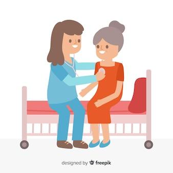Flache krankenschwester, die geduldigen hintergrund hilft