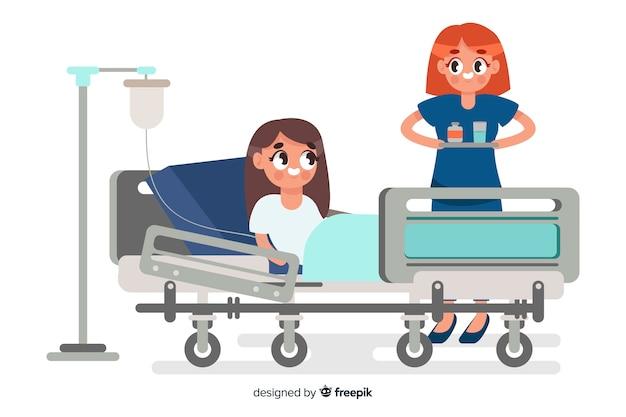 Flache krankenschwester, die patienten hilft