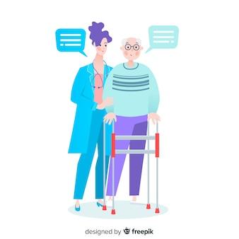 Flache krankenschwester mit patienten