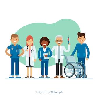 Flache krankenschwester team hintergrund