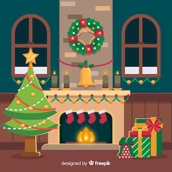 Flache kranzweihnachtskaminszene
