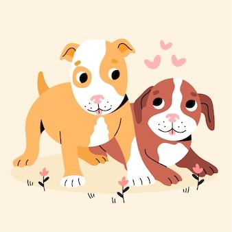 Flache kreative pitbull-illustration