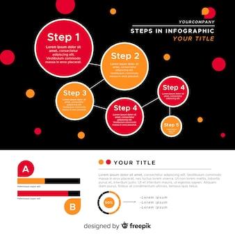 Flache kreise infografik schritte