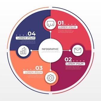 Flache kreisförmige diagramm infografik vorlage